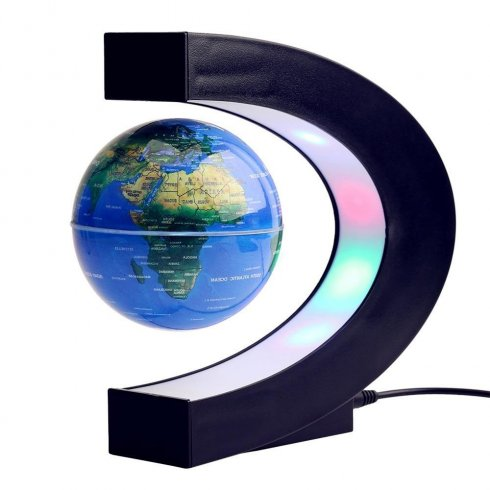 Levitating eart globe lampe med fargerikt LED -lys + designstativ