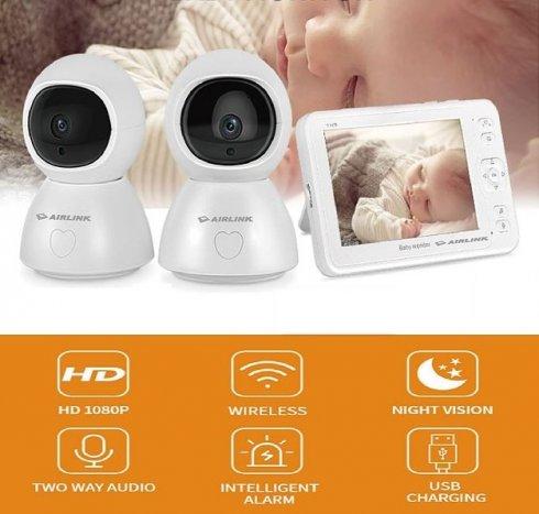 """Baby monitory - video SET - 5 """"LCD + 2x 1080p PTZ IP kamera s IR LED a obousměrnou komunikací"""