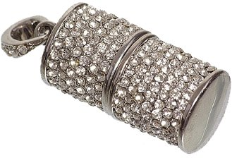 The silver USB jewel key ornate with white rhinestones