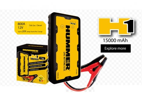Portable car battery jumper + external battery Hummer H1 15000mAh for engines up to 7 L