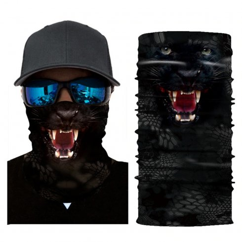 Face shield head scarf for protection -animal pattern BLACK PANTHER