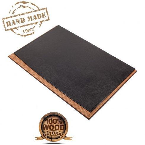Leder-Schreibtischunterlage - Luxus-Design aus Holz + schwarzem Leder (handgefertigt)