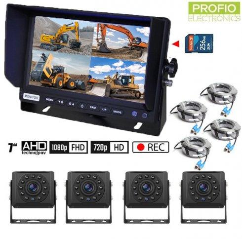 """SET na parkovanie AHDs nahrávaním na SD kartu - 4x AHD kamera s 11 IR LED + 1x Hybridný 7"""" AHD monitor"""