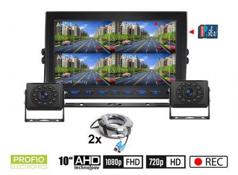"""Cúvacie kamery AHDset s nahrávaním na SD kartu - 2x HD kamera s 11 IR LED + 1x Hybridný 10"""" AHD monitor"""