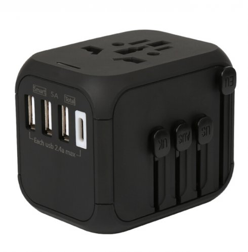 Universal travel AC/DC adapter - 4 USB slots with max 5A