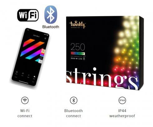 Karácsonyfalámpák SMART - LED Twinkly Strings - 250 db RGB + W + BT + Wi-Fi