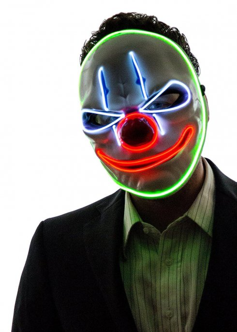 Gruselige Clownsmaske mit LED - Joker