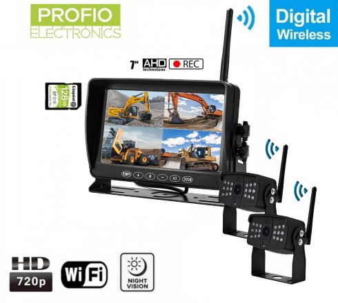 """Reversing cameras with wireless monitor with recording to SD - 2x AHD wifi camera + 7"""" LCD DVR monitor"""