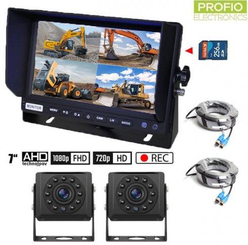 """Cuvacie kamery do autaSET s nahrávaním na SD kartu - 2x HD kamera+ 1x Hybridný 7"""" AHD monitor"""