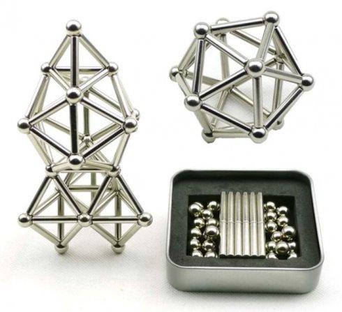 Silberkugeln Magnetisch 29 Stück + Magnetstäbe 36 Stück
