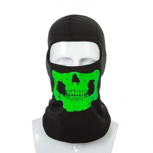 Štýlová čierna kukla s maskou - reflexný vzor SKULL zelená