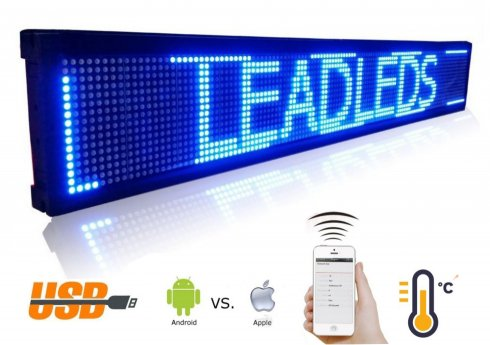 LED display board blue with WiFi - iOS/Android - 101 cm width