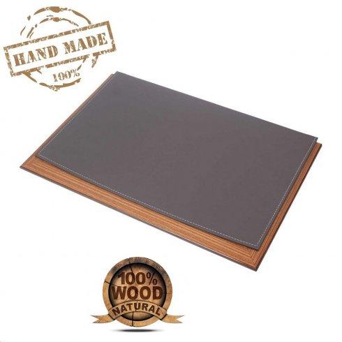 Blotter de birou - design de lux (lemn + piele gri) 100% Handmade