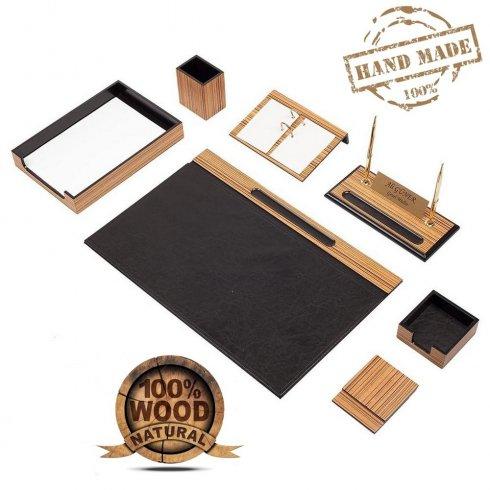 Dárek pro šéfa - Kancelářský 10 ks SET na pracovní stůl (Dřevo + Kůže)