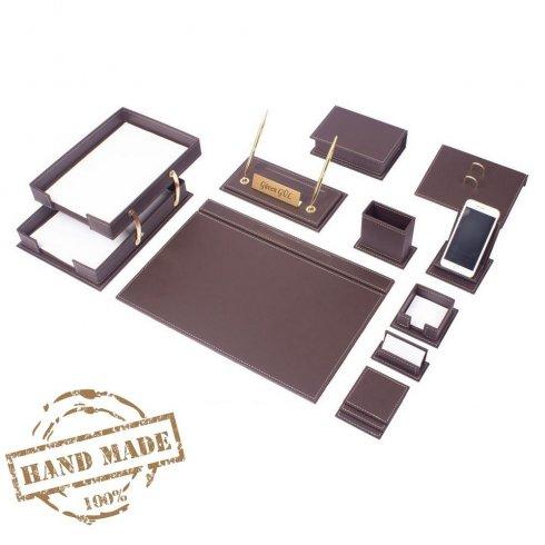 オフィスワークテーブル用レザーセットブラウンカラーのアクセサリー14個
