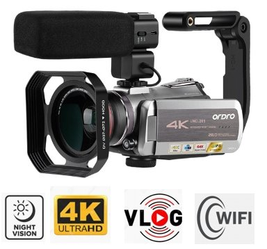 4K Camcorder Ordro AZ50 night vision + WiFi + telephoto lens + macro lens + LED light + case (FULL SET)
