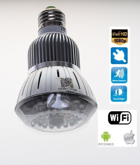 Bulb camera Wifi  + FULL HD + IR LED + Motion detection