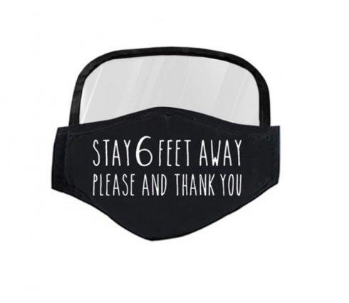 Maska so štítom aj pre ochranu očí- Stay 6 feet away