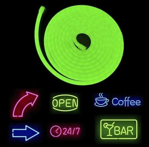 Яркий логотип с гибкой неоновой полосой 5M с защитой IP68 - зеленый цвет