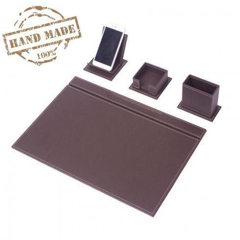 Covorase de masă - SET de birou elegant 4 buc. - Piele maro (confecționată manual)
