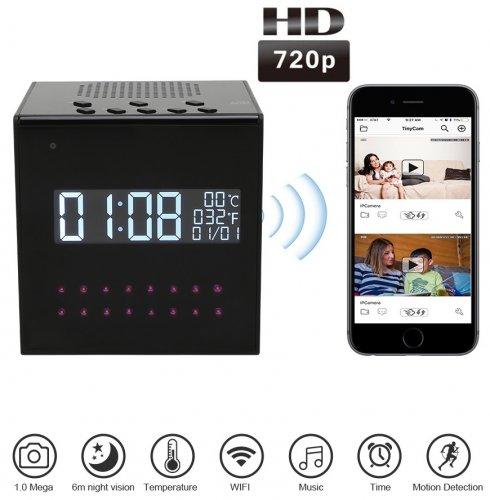 Kamera z budzikiem szpiegowskim FULL HD + głośnik Bluetooth + IR LED + WiFi i wykrywanie ruchu P2P +