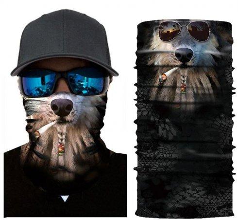 Funny3D design- face balaclava RASTA SMOKING DOG