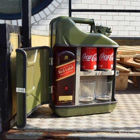 JERRYCAN - Minibar bidón en lata de 10L + 2 vasos de whisky