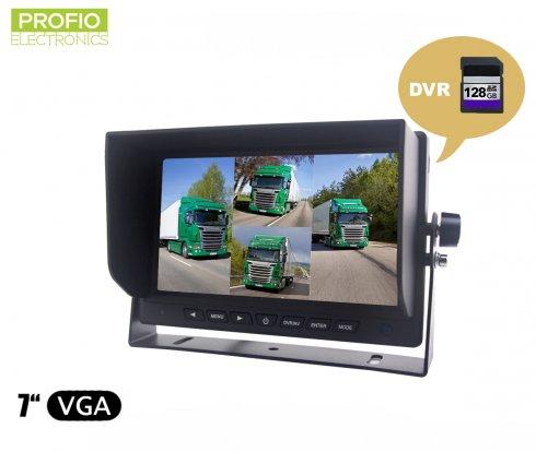 """Monitor DVR inverso de 7 """"LCD + grabación desde 4 cámaras hasta tarjeta SDXC de 128GB"""