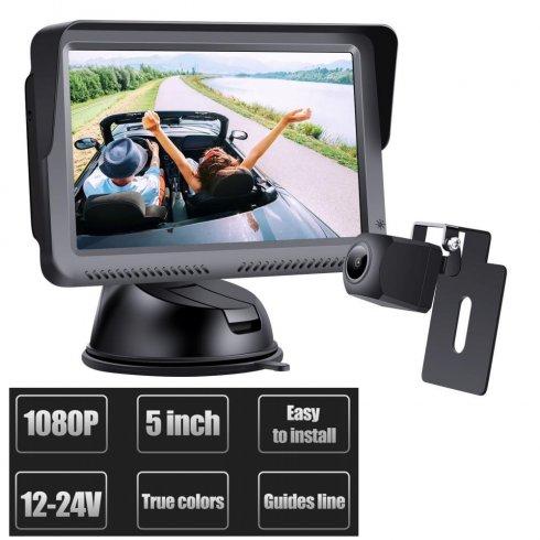 "Cúvací káblový set do auta: 5""monitor + FULL HD mini zadná kamera (IP68)"