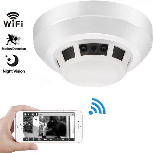 Telecamera rilevatore di fumo Wifi + FULL HD con IR vicino a LED