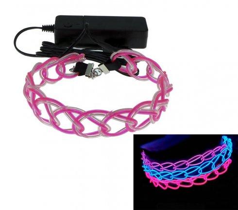 LED világító nyaklánc - Rózsaszín kék