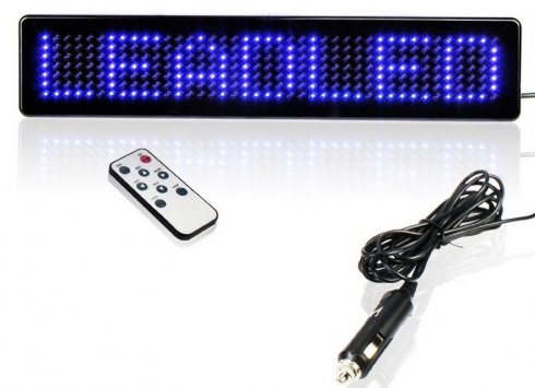 Car LED display blue with remote control 23 x 5 x 1 cm, 12V