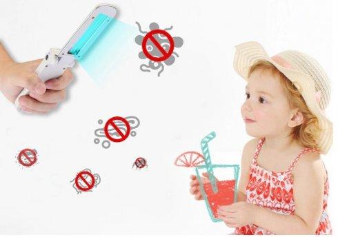 UV消毒ランプポータブル3W(USBまたは4x1,5V AAA電池で駆動)