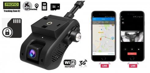 Duálna Kamera do auta so vzdialeným monitorovaním -PROFIOX2+ Uzamknutie SIM/Micro SD + Alarm vibrácií