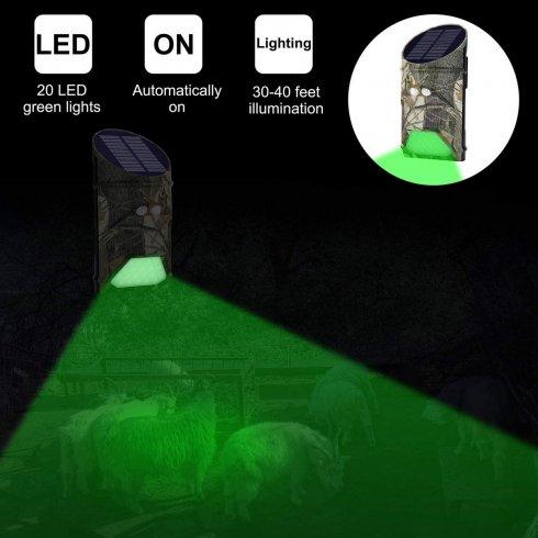 Vânătoare de lumină verde cu detectarea PIR a mișcării animalelor și a oamenilor + încărcare solară