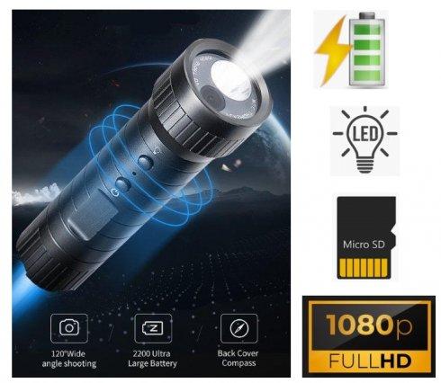 Lommelygte kamera spion skjult med FULL HD 120 ° vinkel + kompas + sæt holdere