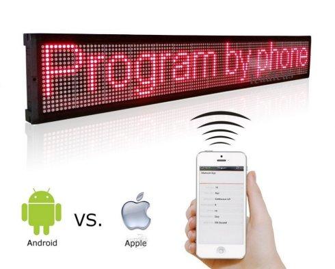LED zaslon za trgovine - crvena, s WiFi - iOS / Android - širine 101 cm