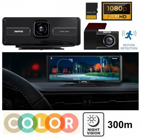"""Duálna FULL HD 5MP kamera do auta s monitorom 8"""" a FAREBNÝM NOČNÝM VIDENÍMaž do 300 metrov - DUOVOX V9"""