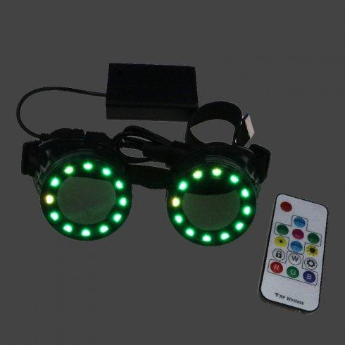 Kacamata bercahaya LED Bulat Eclipse warna RGB + alat kawalan jauh