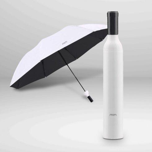 Skládací deštník bílý - Vínová láhev (Dárek)