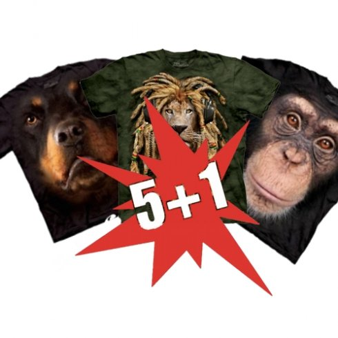 Super discount 5 + 1 Animal T-shirt for free