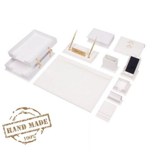 Set piele de lux 14 buc pentru birou din piele albă (realizat manual)