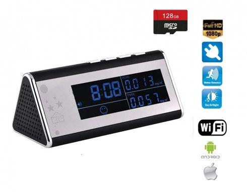 Wecker mit FULL HD WIFI Kamera und Luftqualität Überwachung + 4IR LED + 128 GB Micro SD-Unterstützung