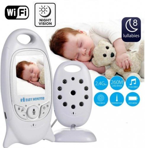 """Video baby monitor -2"""" LCD + Nanny camera with 8x IR LED and two-way communication"""