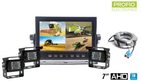 """Backup camera with monitorAHD LCD HD car monitor 7""""+ 3x HD camera with 18 IR LEDs"""