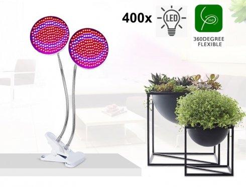 Growlampe für Zimmerpflanzen 80W (2x 40W) 2 Köpfe Schwanenhals mit 400x LEDs