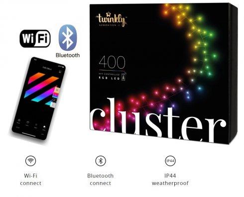 Smart světelná řetěz 6m - Twinkle Cluster - 400 ks LED RGB + BT + Wi-Fi