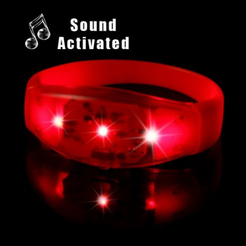 Bracelet LED - sensible au son rouge