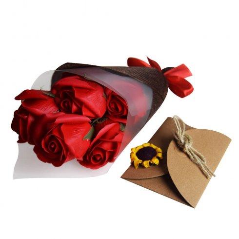 Ramo de jabón - 7 rosas rojas eternas + caja regalo