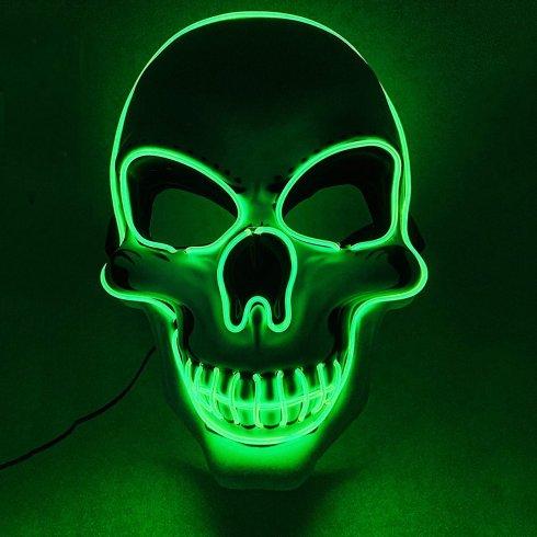 Maska LED SKULL - zielona